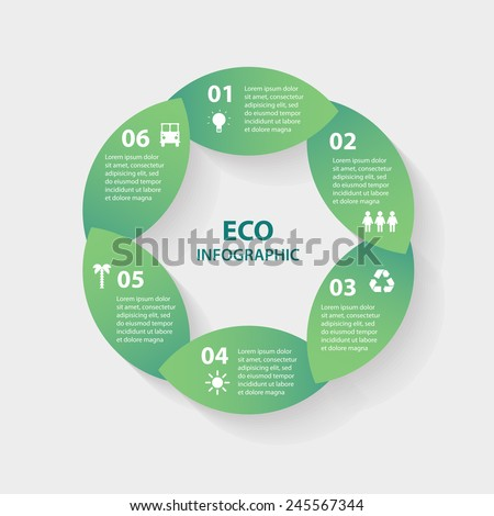 Vector green leaves circle round sign infographic. Template for diagram, graph, presentation and chart. Eco concept with options, parts, steps or processes. Abstract background. - stock vector