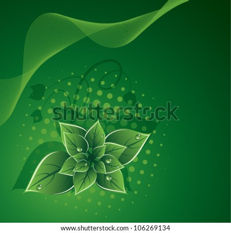 vector green leaves eco design