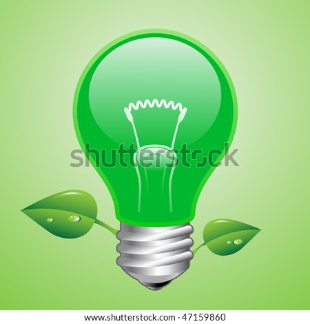 Vector green lightbulb. Ecology concept