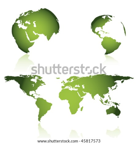 vector green map - stock vector