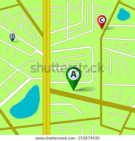Vector green map seamless pattern. Eps10