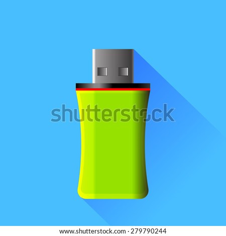 Vector Green Memory Stick Isolated on Blue Background