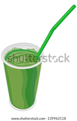 Vector green milk shake - stock vector