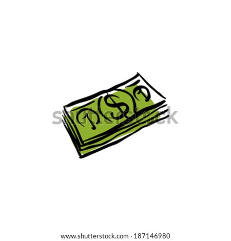 Vector green money packet icon, hand drawn bundle of money. - stock vector