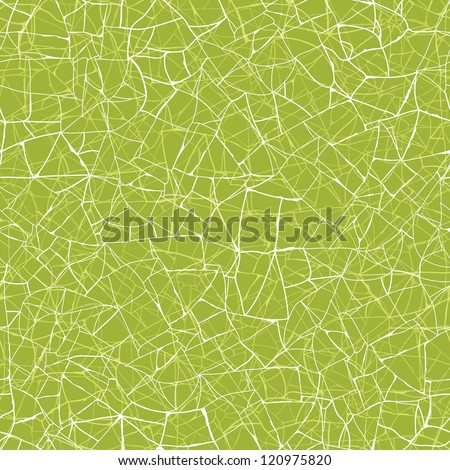 Vector green mosaic texture seamless pattern background with hand drawn abstract line art. - stock vector