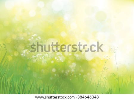 Vector green  nature background. - stock vector