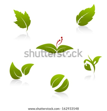 Vector green nature symbols - leaf icon, silhouette with shadow  - stock vector