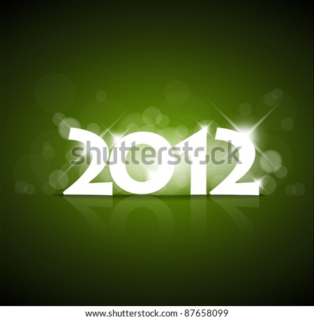 Vector Green New Year card 2012 with back light and place for your text