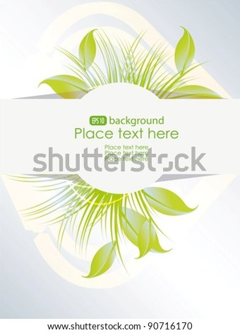Vector green organic pointer with leafs, grass - stock vector