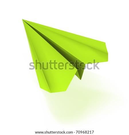 vector green origami plane - stock vector