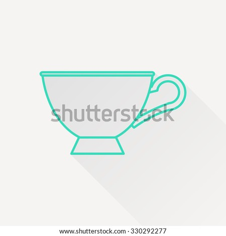 Vector green outline cup for tea or coffee icon on white background with long shadow