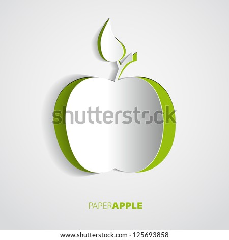 Vector green paper apple card design - stock vector