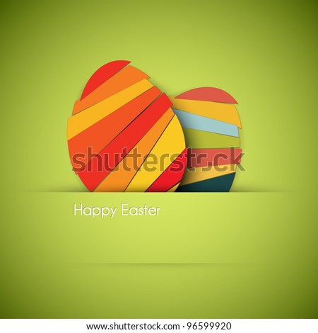 Vector green Paper card with striped easter eggs - stock vector