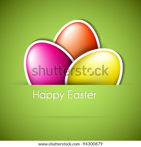 Vector green Paper easter egg card - stock vector