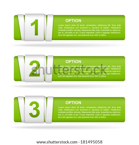 vector green paper option labels with number of option on ribbon
