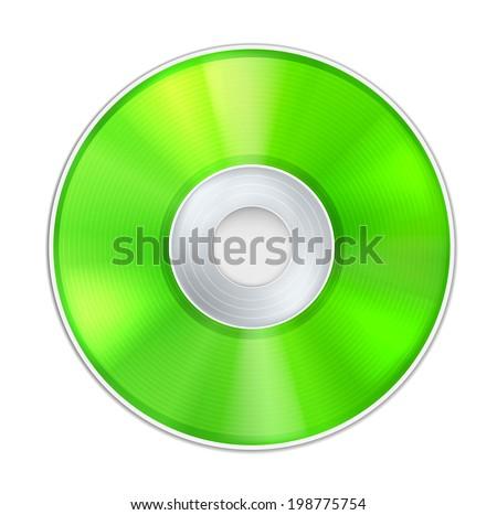 Vector Green Realistic CD Disk - stock vector