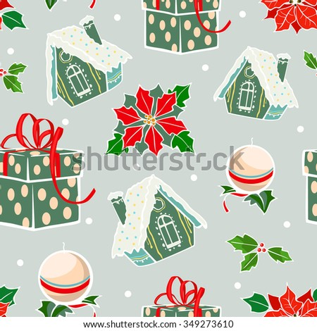 Vector Green Red Holiday Gingerbread Houses Candles Christmas Poinsettia Flowers Seamless Pattern. Prensents gift box holly berries decorations. - stock vector