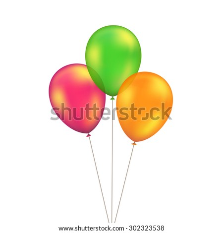Vector Green Red Orange Yellow Balloons Set Isolated on White Background