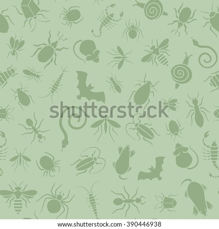 Vector green seamless pattern or background for website of different insects like scorpions, bed bugs and termites for pest control companies. Included some animals like bats, moles, mice and snakes. - stock vector