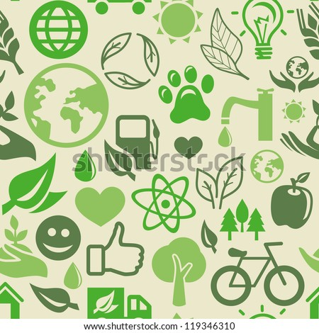 Vector green seamless pattern with ecology signs and symbols - stock vector