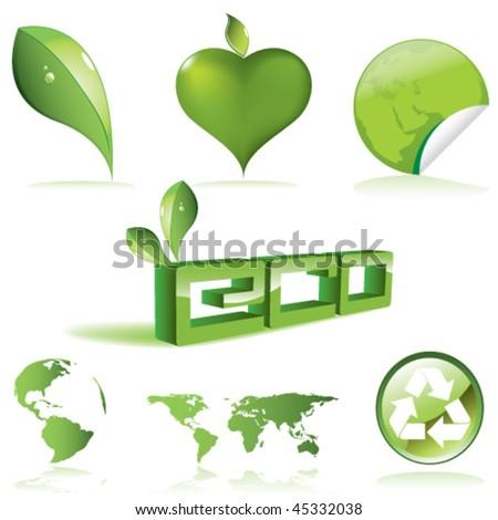 vector green set (see similar my gallery) - stock vector