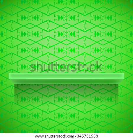 Vector Green Shelf  on Ornamental  Green Lines Background - stock vector