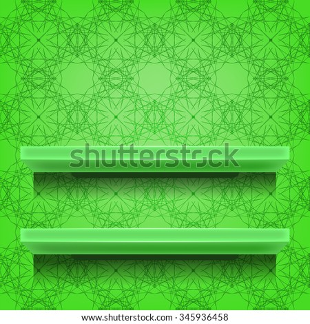 Vector Green Shelves  on Ornamental  Green Lines Background - stock vector