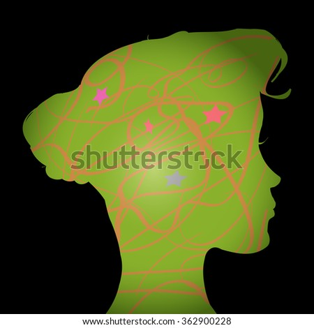 vector green silhouette of a woman head - stock vector