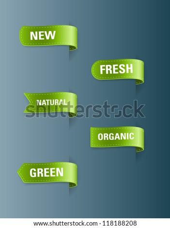 Vector green silky ribbon tags collection. New, Fresh, Natural, Organic, Green - stock vector