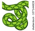 vector green snake seamless - stock vector