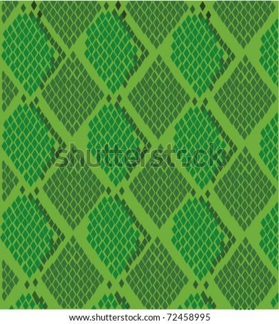 vector green snake skin - stock vector