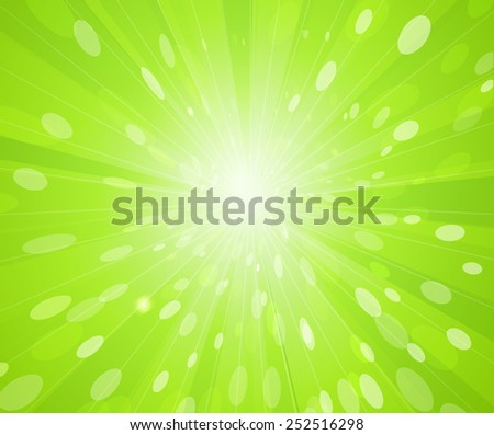 Vector Green sunny rays background. Spring sunbeam  - stock vector