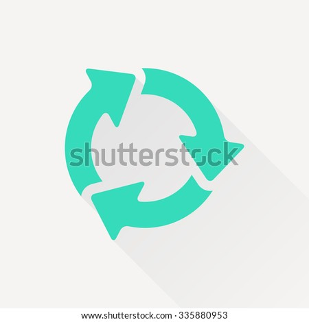 Vector green three arrows icon on white background