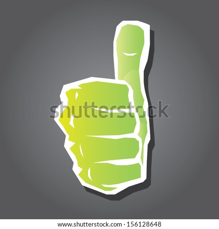 "vector green thumb up icon. symbol of good job .""i like it"" sign. - stock vector"