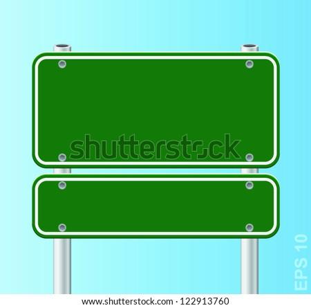Vector green traffic road sign. - stock vector