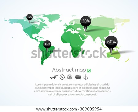 Vector green triangle world map with tags, points and destinations with icons airplane, sun, cloud, anchor, compass, travel communication concept
