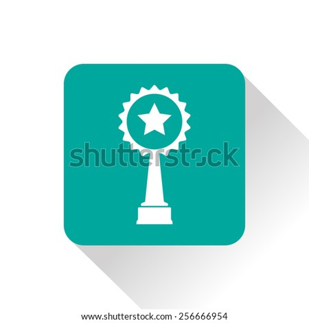 Vector green trophy and awards with star icon - stock vector