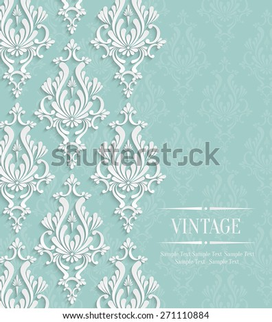 Vector Green Vintage Background with Floral Damask Pattern for Wedding or Invitation Card - stock vector