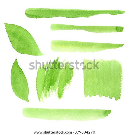 vector green watercolor shapes, strokes, grass on a white background, hand drawn stains set - stock vector