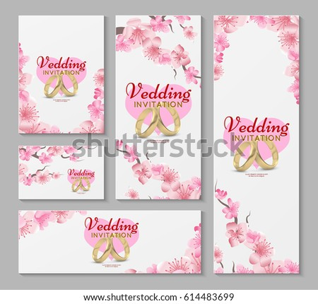 Vector greeting wedding invitation cards japanese stock vector vector greeting and wedding invitation cards with japanese sakura cherry blossom flowers invitation wedding stopboris Image collections