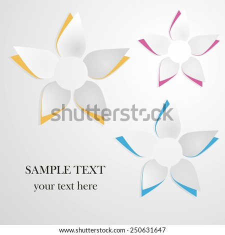 Vector greeting card background with paper flowers