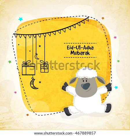 Vector greeting card design with cute Baby Sheep for Muslim Community, Festival of Sacrifice, Eid-Al-Adha Mubarak. - stock vector