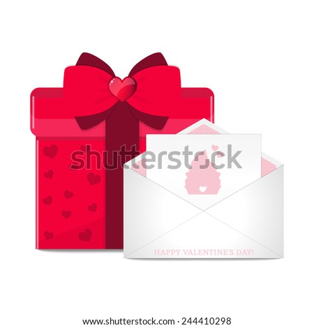 Vector greeting card in envelope and red gift box.  - stock vector