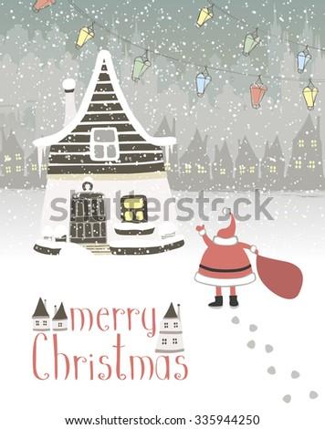 Vector greeting card Merry Christmas - stock vector