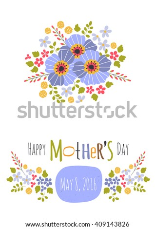 Vector greeting card template mothers day stock vector 409143826 vector greeting card template for mothers day holiday floral design for greeting cards brochures m4hsunfo