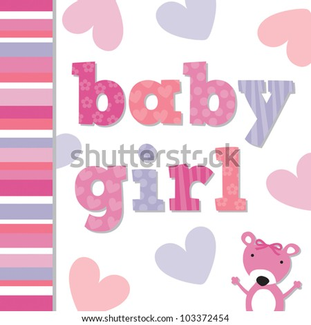 Vector Greeting Card template for new Baby Girl with cute teddy bear. Suitable for new baby card, baby shower, christening or baptism card.  See JPEG version in my portfolio. - stock vector