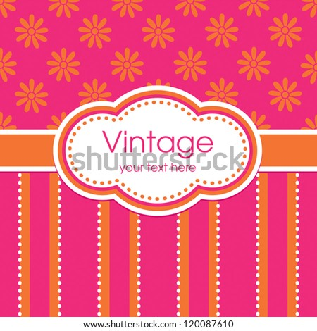 Vector greeting card template. Vintage pink and orange daisy print with striped panel and text frame. For birthday, Mother's Day, Easter, Valentine's Day, wedding, thank you, social media, web banner. - stock vector
