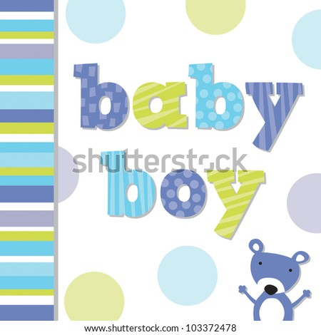 greeting card template with cute teddy bear suitable for new baby
