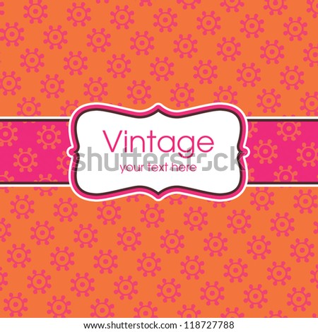 Vector greeting card template with sweet vintage floral print and text frame. Great for birthday, Mother's Day, Valentine's Day, wedding, thank you, menu, dinner party invitation, stationery. - stock vector