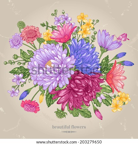 Vector greeting card with a bouquet of bright summer flowers on a beige background. Isolated. Illustration in vintage style. - stock vector